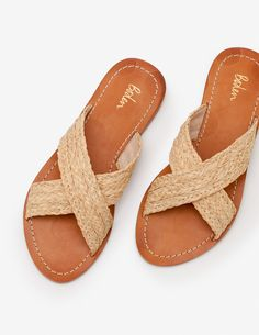Easy to slip on and oh-so-comfortable - there's so much to love about these cross-strap slides. The leather soles are unmistakably Boden, with contras. Provence, Take A Seat, Luxury Shoes, British Style, My Bags, Skechers, Lacoste, Women Accessories, Shoe Boots