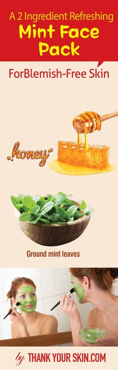 Believe it or not, mint makes a great solution to acne. Here's an easy mint face pack recipe to bid your zits goodbye! Easy Face Masks, Homemade Face Masks, Homemade Skin Care, Diy Skin Care, Diy Face Mask, Best Beauty Tips, Beauty Care, Diy Beauty, Beauty Hacks