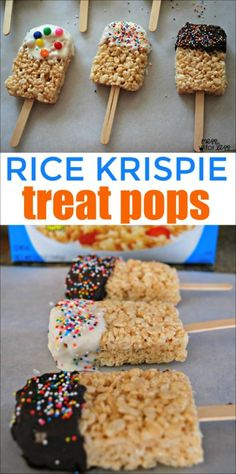 Rice Krispies Treat Pops - It is simple to make these festive treats with kids. These rice krispie treats look like ice cream pops! Snacks To Make, Easy Snacks, Easy Desserts, Healthy Snacks, No Cook Meals, Kids Meals, Yummy Treats, Sweet Treats, Rice Recipes For Dinner