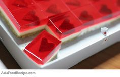Strawberry Jelly Hearts Cheesecake | Asia Food Recipe