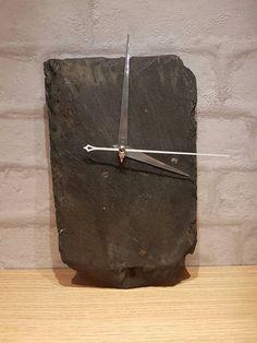 Slate wall clock recycled slate clock reclaimed by LomondPrints Slate Shingles, Slate Roof, Slate Art, Slate Tiles, Roof Cleaning, How To Make Wall Clock, Tile Crafts, Roof Tiles, Repurposed Items