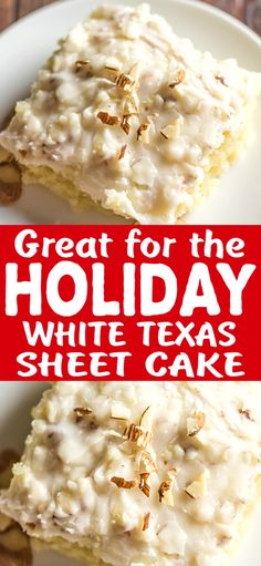 White Texas Sheet Cake This is a delicious, creamy, moist cake with a nice crunch to it because of the almonds. And let's not forget that it will feed a nice bunch of people! Holiday Cakes, Christmas Desserts, Christmas Cooking, Cupcakes, Cupcake Cakes, White Texas Sheet Cake, Cake Recipes, Dessert Recipes, Frosting Recipes