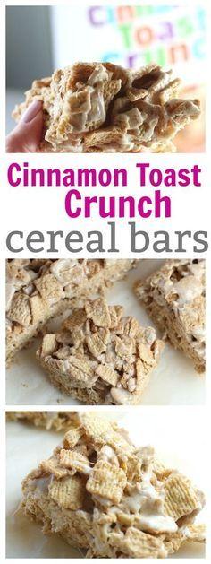 Cinnamon Toast Crunch Cereal Bars #recipes #cerealbars #kidsfood #snacks #breakfast #easyreicpes