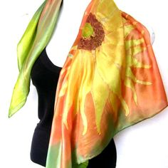 """Sunflower Silk Scarf Handpainted, Hand Painted Silk Scarf, Orange Olive Green Terracotta Yellow, Floral, 35"""" Square Silk Scarf, Gift For Her"""