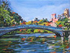 Bow Bridge, Central Park Blue Landscape, Fine Art Print  8x10, New York City Painting by Gwen Meyerson