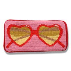 Jonathan Adler Pink Heart Sunglass Case in Needlepoint Accessories Heart Sunglasses, Cute Sunglasses, Sunnies, Lolita Fashion, All Fashion, Modern Fashion, Decorative Accessories, Fashion Accessories, Jonathan Adler