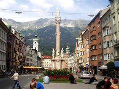 Innsbruck, Austria   One of the places we visited on our train ride through Europe....I really enjoyed Innsbruck, it was a very quaint town nestled right in the middle of the mountains