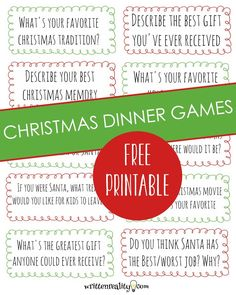 Need Christmas games and ideas for holiday family fun? We've got holiday dinner games you'll love! Free Christmas dinner game printable included.