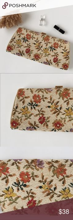 """Vintage Floral Clutch Cotton Stitched Gold Purse Large Vintage Floral Clutch!  -High quality cotton stitched exterior -Leather sides and interior -Zipper interior pocket -Gold clasp -Measures 14"""" across -Preloved in very good vintage condition (see photos) Bags Clutches & Wristlets"""