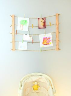 Make a clothesline display - Hang a handful of your favorite pictures and be able to easily switch them up every season.