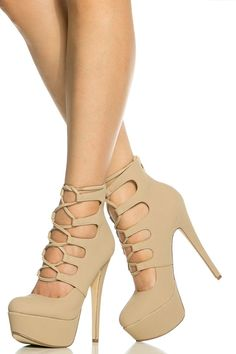 Nude Faux Nubuck Lace Up Platform Heels @ Cicihot Heel Shoes online store sales:Stiletto Heel Shoes,High Heel Pumps,Womens High Heel Shoes,Prom Shoes,Summer Shoes,Spring Shoes,Spool Heel,Womens Dress Shoes