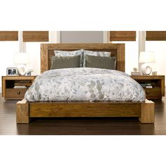 Infuse your room with refined simplicity. The hand carved accents and distressed finish make this platform bed a sophisticated addition to your bedroom decor.