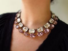 Lilac Crystal necklace, Swarovski necklace, Lavender Purple Collet Necklace, Anna Wintour, Light Purple Bridesmaid, Purple Wedding Jewelry