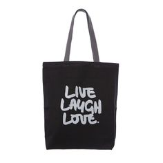 LIVE LAUGH LOVE #canvas #tote #bag #quote #klassdsign http://klassdsign.com/shop/canvas-bags/live-laugh-love-black/