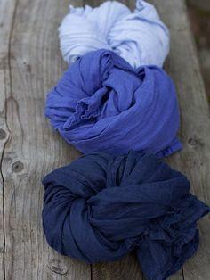 Cobalt Linen Summer Scarf Garza - Linen scarves garza - LinenMe