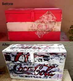 chest refurbished with chalkboard paint and a coca-cola graphic print