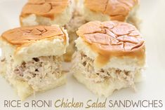 San Fran Super Bowl Food - RICE A RONI CHICKEN SALAD SANDWICHES.  Kings Hawaiian Sweet Rolls (or your choice bread), Chicken Rice A Roni, Canned Chicken, Mayo, Lemon Pepper to taste.  EASY.