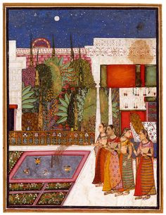 """Four Women in a Palace Garden"" India, Bundi, mid-18th century 