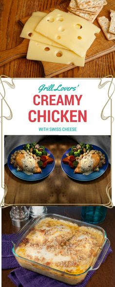 Grill Lovers' Creamy Chicken with Swiss Cheese Recipe   #recipes #foodporn #foodie