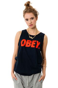 The Obey Font Tank in Navy by Obey. Rep your favorite brand in this distinct logo tank from Obey clothing, featuring their infamous box logo design $20