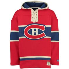 Men's Montreal Canadiens Old Time Hockey Red Lacer Heavyweight Pullover Hoodie