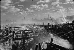 Magnum Photos Photographer Portfolio Henri Cartier-Bresson USA. Fire in Hoboken, facing Manhattan. 1947.