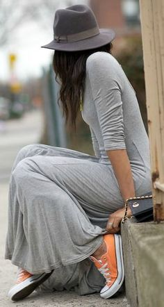 Street style ~ maxi dress, hat and neon Converse