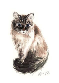 Custom Pet Portrait 8 x 10 ORIGINAL Watercolor by LauraRowStudio