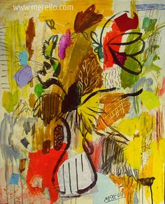 "Jose Manuel Merello.-""Flores Amarillas"" // ""Yellow Flowers"" (92x73 cm) Mix Media on Canvas (2004-2006) Contemporary Flowers. Modern Still Lifes Fine Art. ARTE MODERNO. http://www.merello.com"