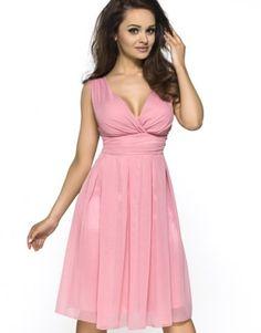 Sukienka z szyfonu kopertowy dekolt Km117 różowa na wesele