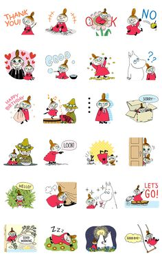 Little My is now the star of her own animated sticker set. Bring her and the other inhabitants of Moominvalley to your chats today! Anime Stickers, Cute Stickers, Moomin Tattoo, Little My Moomin, Moomin Wallpaper, Face Doodles, Moomin Valley, Tove Jansson, Pretty Images