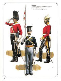 Balaclava: 1:Sergeant,2nd Royal North British Dragoons.2:Private,17th Lancers.3:Officer,6th Inniskilling Dragoons. British Army Uniform, British Uniforms, Military Art, Military History, Military Uniforms, Osprey Publishing, Crimean War, Royal Marines, British History