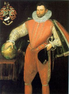 Sir Francis Drake (1540-1596). He earned his fame and fortune through his skilful seamanship and outstandingly successful piracy. His 1577-81 global circumnavigation involved profitable raids on Spanish ships and ports, and increasingly frequent and serious attacks during the 1580s contributed to Philip II's 1588 Armada, in turn defeated by the English fleet. In this full-length portrait Drake's hand is on a globe which, is in reverse, intriguingly, of modern representations of the planet.