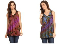 Sakkas top features a beautifully hand dyed tie dye pattern on semi-opaque cotton. This sleeveless top has wide and comfortable tank style straps. It's lightweight and relaxed fit creates an elegant drape. Top features a V-neck with floral style embroidery along neckline and hem. This earthy and chic top can be worn over leggings, tights, trousers or jeans. Layer over dresses, maxi skirts, and harem pants for stylish bohemian looks.