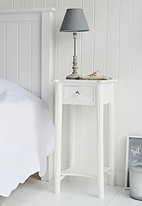 New England bedside with silver handle on drawer