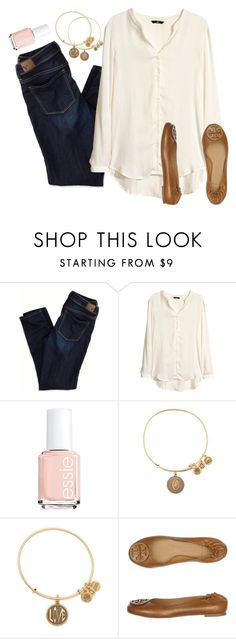 """""""10 sets for Jude// set 6"""" by preppy-classy ❤ liked on Polyvore featuring American Eagle Outfitters, H&M, Essie, Alex and Ani, Tory Burch and 10setsforjude"""