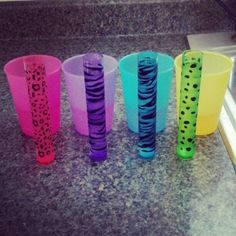 Neon Colored & Animal Printed Shot Glasses