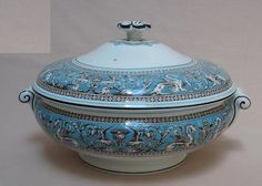 """Wedgwood Florentine Turquoise Tureen w/Lid, 9-3/4"""" w x 6"""" tall. $176.95 ea, 4 available at wessex-china (UK) on ebay, 4/21/16"""