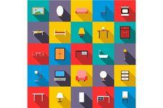 Furniture icons set, flat style @creativework247
