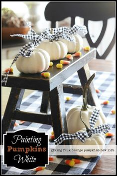 Take those old faux orange mini pumpkins and paint them to look like realistic baby boo's. Love white pumpkins and the touch of black Pumpkin Wreath, Diy Pumpkin, Pumpkin Crafts, Fall Crafts, Holiday Crafts, Holiday Fun, Faux Pumpkins, White Pumpkins, Painted Pumpkins