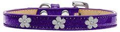 Mirage Pet Products Flower Widget Dog Collar, Size 10, Purple/Silver