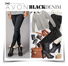 """Denim Trend: AVON Black Jeans"" by elizabeth-912 ❤ liked on Polyvore featuring Avon, women's clothing, women's fashion, women, female, woman, misses, juniors and blackdenim"