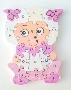 Wooden jigsaw/puzzle sheep with numbers and letters,colorful educational toy | eBay