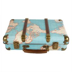 This Around the World Vintage Map Suitcase is a bold and inventive take on a classic suitcase.