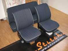 VW Beetle interior in Jeans with Beige leather welts