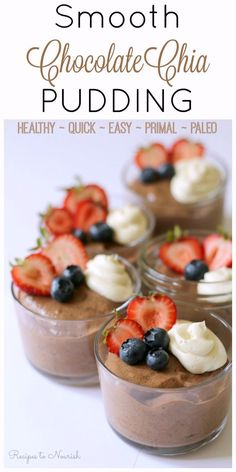 Smooth Chocolate Chia Pudding is so delicious and rich, super creamy, perfectly smooth without little seeds to bite and only takes minutes to make! Low Carb Dessert, Paleo Dessert, Healthy Dessert Recipes, Gluten Free Desserts, Real Food Recipes, Healthy Treats, Healthy Food, Dinner Recipes, Pasta Recipes