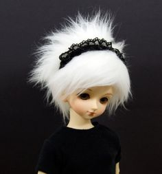 7/8 White Faux Fake Fur Wig for MSD Boy and Girl by resinmelody