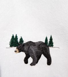 Bear Black Embroidered Cabin Kitchen Towel Woodland by SimplyLodge, $12.95