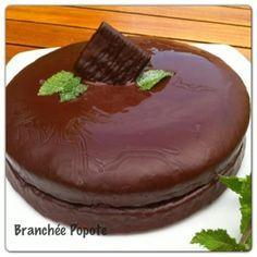 Mon homme étant amateur du mélange Choco-menthe, j'ai voulu lui faire plaisir pour son anniversaire. Je me suis donc inspirée de mon gâteau au chocolat fétiche, et de l'opéra Choco- Menthe de Micha...