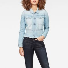 now on eboutic.ch - light blue jeans jacket for woman Blue Jeans, Denim Jeans, Light Blue Jean Jacket, G Star Raw, Jackets For Women, Woman, Shorts, Pants, Beauty